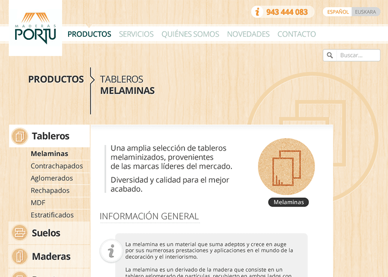 Maderas Portu website