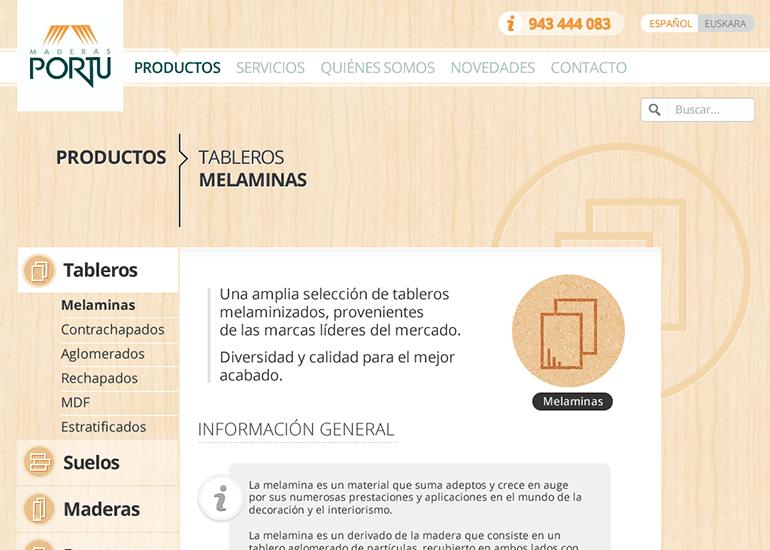 Maderas Portu website