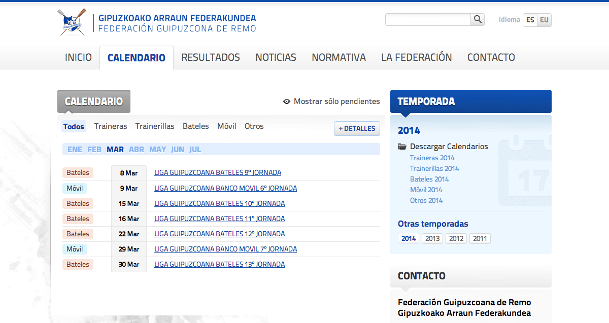 Gipuzkoan Rowing Federation - Calendar